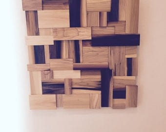 Modern wood wall hanging