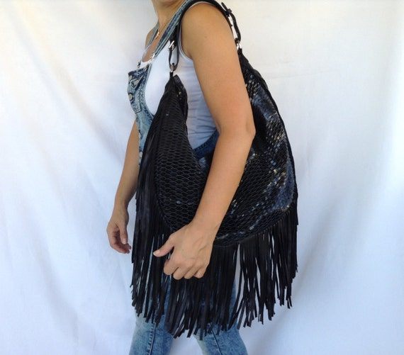Black Leather Hobo Bag with Fringes Boho Large Special Tote Bag Free Shipping
