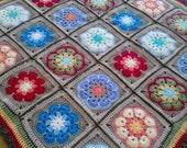 "Flower Power Retro Crochet Baby Blanket 31"" x 31"""