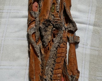 Tall House, whimsical hand carved Cottonwood bark.