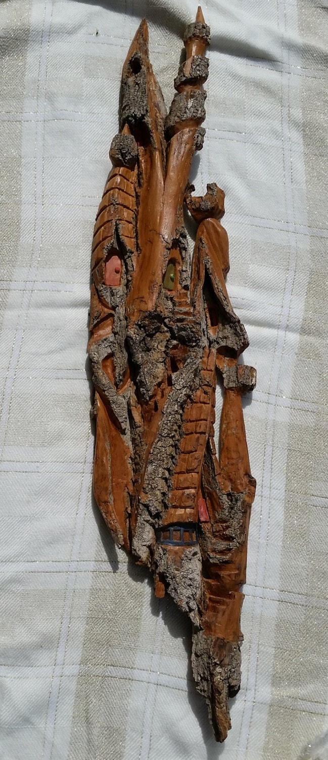 Tall house whimsical hand carved cottonwood bark