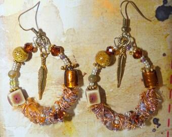 """Earrings Creole """"Gypsy pen"""" Amber Golden ochre ethnic Rock Gem crystal earrings-room single"""