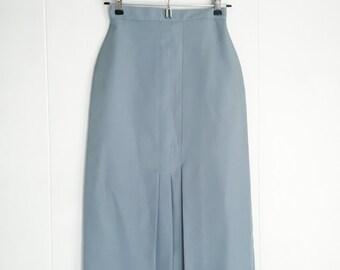 Vintage Skirt - 50s Skirt - Bobbie Brooks - High Waisted Skirt - Pinup Skirt - Front Pleat - 1950s Skirt -  Light Blue - Midi Skirt -Mad Men