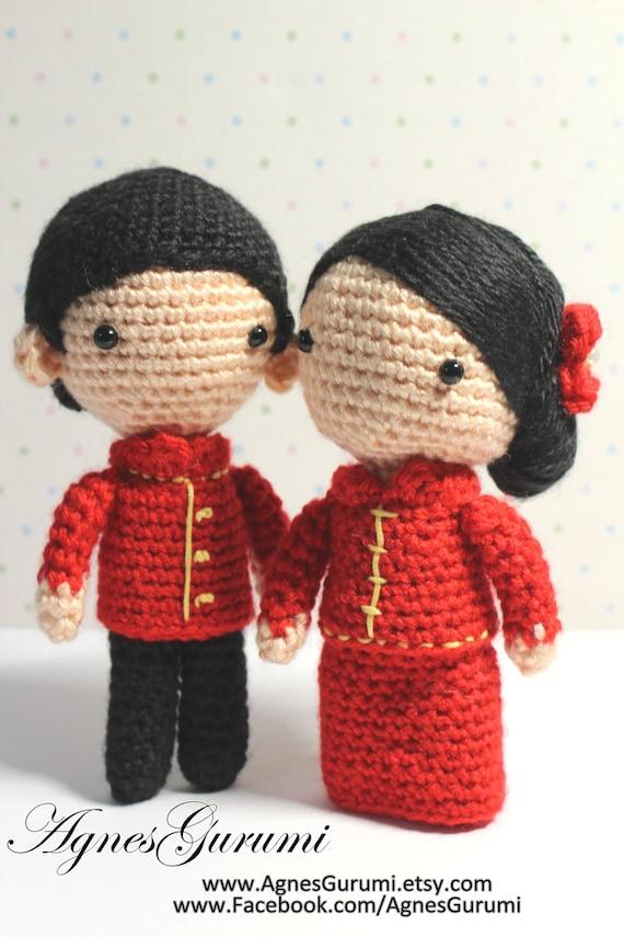Free Amigurumi Patterns Owls : Amigurumi Crochet Wedding Couple Chinese Traditional Red