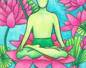 yoga art print - Lotus Pose, yoga print, yoga artwork, yoga pose, asana, inspirational art, yoga gift, yoga studio
