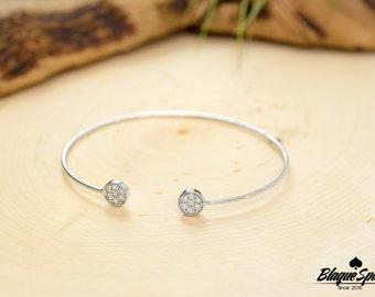 Dainty Silver Open Cuff Bracelet with CZ Stones
