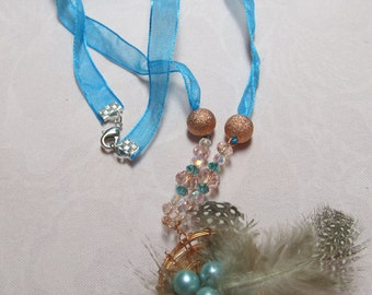 Blue Eggs in Feather & Copper Nest Necklace