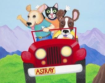 Dog, cat, Jeep, Golden Retriever, Spaniel, black cat, tuxedo cat, mountain landscape, dog driving, Marjie Bassler, whimsical, funny