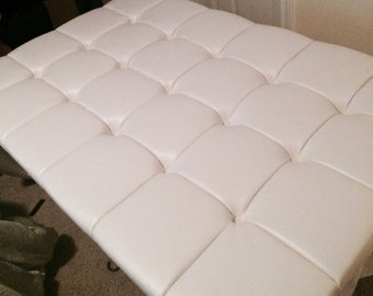 Custom faux leather, tufted upholstered headboard