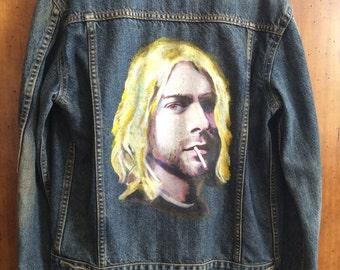 Denim Jacket, Hand-painted, Kurt Cobain