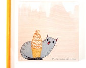 pink cat ICE CREAM stationery - ice cream party favors, ice cream cone ice cream cat soft serve frozen yogurt, cat stationery cat stationary