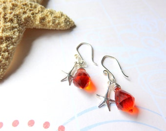 Bright Orange Starfish Earrings, Sterling Silver and Orange Dangle Earrings, Wire Wrapped Bright Citrus Earrings, Beach Vacation Jewelry
