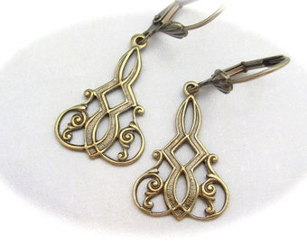 Art Nouveau Earrings, Dainty Earrings, Antiqued Gold Brass Earrings, Bridesmaid Gift, Bridal Jewelry, Wedding Jewelry, Art Deco Earrings