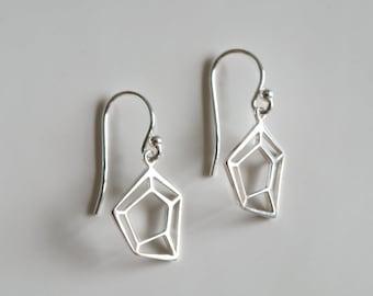 Sterling Silver Fractured Diamond Earrings