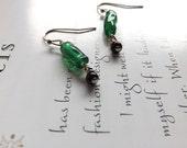 silver earrings in green and black - dainty beaded earrings - green twists and black beaded earrings - delicate earrings - eunice earrings