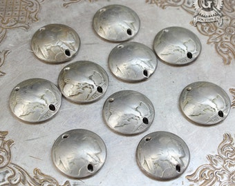Dapped Buffalo Nickel Assortment  - 10 Pieces - Pendant, Earring, or Bracelet Parts - Genuine Domed Coins With Holes - Make Currency Jewelry