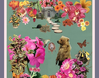 NEW the gift of dream - 12x12 giclee art print - collage art by livingferal