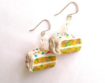 Confetti Cake Earrings, Birthday Cake Slice Charm Earrings, Sterling Silver Food Jewelry