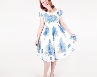 50s Blue Flowered Party Dress with Beautiful Details XS