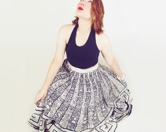 50s Mexican Circle Skirt with Aztec Inspired Black Print and Metallic Sequins S
