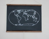 Chalkboard World Map - SMALL SIZE // Travel Map // Geography // Globe // Poster // Canvas // Homeschool Decor // Map Art // Traveler Gift