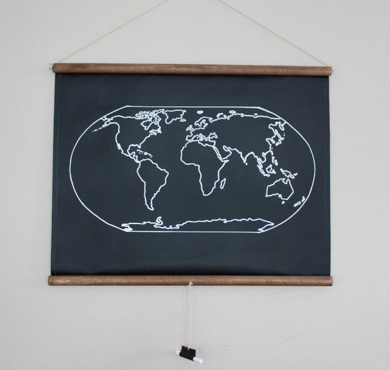 Chalkboard World Map SMALL SIZE Travel Map Geography - Small world map poster