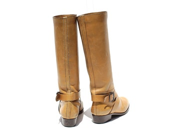 Vintage Tan Leather Tall Boots / Ankle Strap Boots / size 7