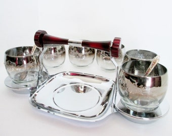Glo Hill Condiment Bakelite and Chrome Serving Dish with six ombre high ball glasses Art Deco vintage Gourmates Buffet Mid Century Barware