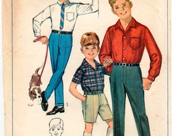 Vintage UNCUT Simplicity Pattern 6606 - Boys Pants and Shorts with Fly-Front Zipper & Front Button-Closing Shirt - Size 8