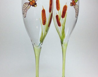 Champagne Flutes Dragonflies with Cattails set of 2 ready to ship