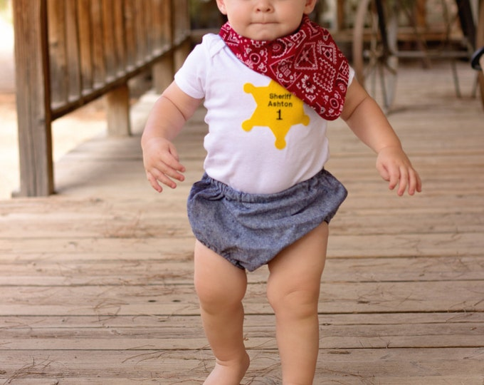 Baby Sheriff Outfit - Police Officer Baby - Baby Shower Gift - Personalized Baby Gift - New Sheriff in Town - 1st Birthday Outfit - Boys