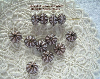 12 Plump Spacer Bead Rondelles Mocha Creme Brown White Vintage Lucite