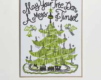 "Christmas ""Mess of Tinsel"" Letterpress Card"