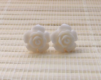 White Flower Cabochon Resin Studs Sterling Silver 12mm