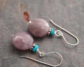Turquoise and Lilac Jasper Earrings