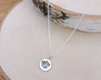 Silver Lotus Necklace, Silver Lotus Flower Disc Charm, Sterling Silver Charm, Sterling Silver Chain, Silver Lotus Flower Disc Charm Necklace