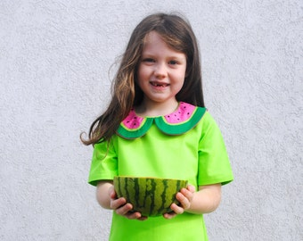 Watermelon Dress- Girls Dress in 2T to 6T- Summer Dress in Green and Pink with Hand Embroidery, Toddler Dress, Summer, Kids
