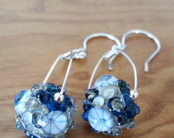 Ocean Inspired Artisan Sterling and Glass Sapphire Seas - Lampwork Glass Rockpool Beads by Clare Scott
