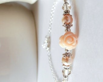 Peach Pearl and Flower Bridesmaid Bracelet Swarovski Pearl and Crystal Flower Bracelet Peach Wedding Bracelet Romantic Beaded Bracelet