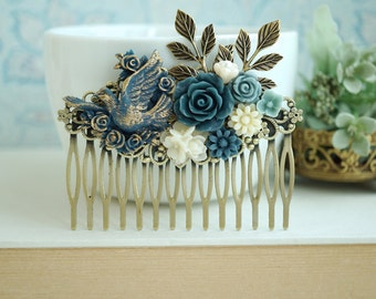 Bridal Comb Blue Floral Comb Something Blue Comb Bird Comb Gold Dusty Blue Bird Comb Ivory Grey Blue Leaf Rustic Comb Large Floral Hair Comb