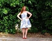 Toile Dress Retro Summer Dress with Off Shoulder Bateau Neckline Vintage Full Skirt 50s 60s Cream Blue Toile de Jouy