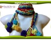 Hippie Chick Easy Crochet Scarf Pattern, Skinny Scarf, Boho Gypsy Scarf, Crochet Pattern Scarf, Designer Scarves, Crochet Lariat Pattern