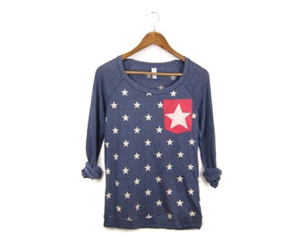 Starry Pocket Sweatshirt - Oversized Lightweight Long Pullover Raglan Tunic Sweater in Heather Navy Red Stars - Women's Size S-XL