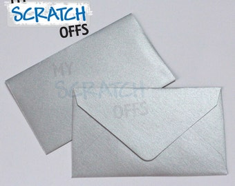 "Mini Envelopes 50 Metallic Silver 2.5 x 4.25"" Mini Envelopes for Wedding Favors Lottery Ticket Lotto Shower Baby Scratch"