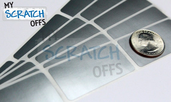 Scratch Off 100 Silver Rectangle 1 x 2 inch scratch-off labels stickers for games and promotions