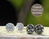 2 Pair Set of Glitter Stud Earrings - 10mm Faux Druzies in Gunmetal Gray Metallic and Clear Glitter, Titanium Post Earrings
