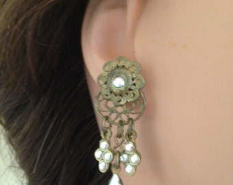 Sale Vintage Jewelry, Art Deco Milk Glass Navettee Filigree Earrings
