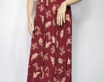Vintage Skirt Floral Skirt Button Front Gathered Waist A Line Full Midi Prairie Boho Skirt Size Small - Medium