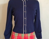 1940s Lovely INCAS Navy Blue Button Front Cardigan Sweater XS S
