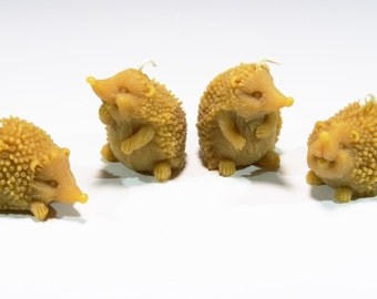 Beeswax Hedgehog Candles (4) Playful Hedge Hog Candles Cute Hedgehogs Hedgehog Family Woodland Nature Candles Rustic Candle Porcupine Candle